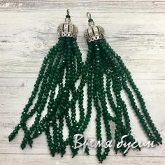 Подвески-кисточки из граненых бусин, Зеленый  (2 шт.)