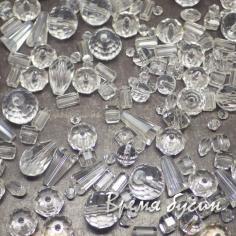 Микс бусин из граненого стекла (10 гр.) ПРОЗРАЧНЫЙ