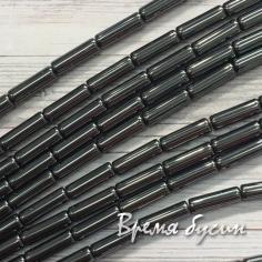 Гематит, трубочка цв. ЧЕРНЫЙ 4х14 мм (15 шт.)