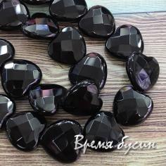 Чёрный агат, сердце граненое 20 мм (1/2 нити, 10 шт.)