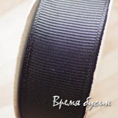 Лента репсовая, 25 мм, цвет черный (1 м.)