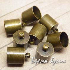 Колпачок-концевик для шнура, цв.Бронза 9х13 мм (1 шт.)