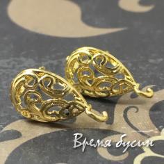 Швензы-гвоздики под золото, 13х15 мм (1 пара)