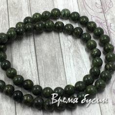 Змеевик, шарик гладкий темно-зеленый 8 мм (нить, 48 шт.)