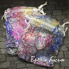 Мешочки из органзы 9х12 см. Белые с разноцветными кораллами
