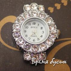 Основа для часов со стразами, цвет серебро, циферблат арабский
