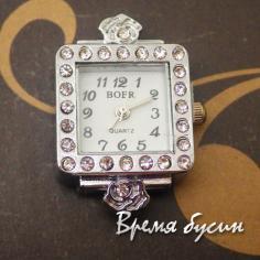 Основа для часов со стразами, цв.серебро, циферблат арабский (1 шт.)
