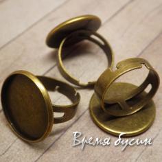 Основа для кольца с площадкой под кабошон 20 мм, цв. бронза (1 шт.)