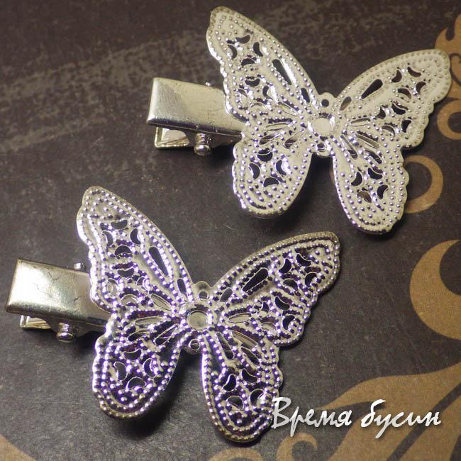 Бабочка. Основа для заколки с филигранью, цв. серебро (1 шт.)