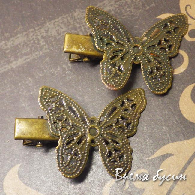 Бабочка. Основа для заколки с филигранью, цв. бронза (1 шт.)