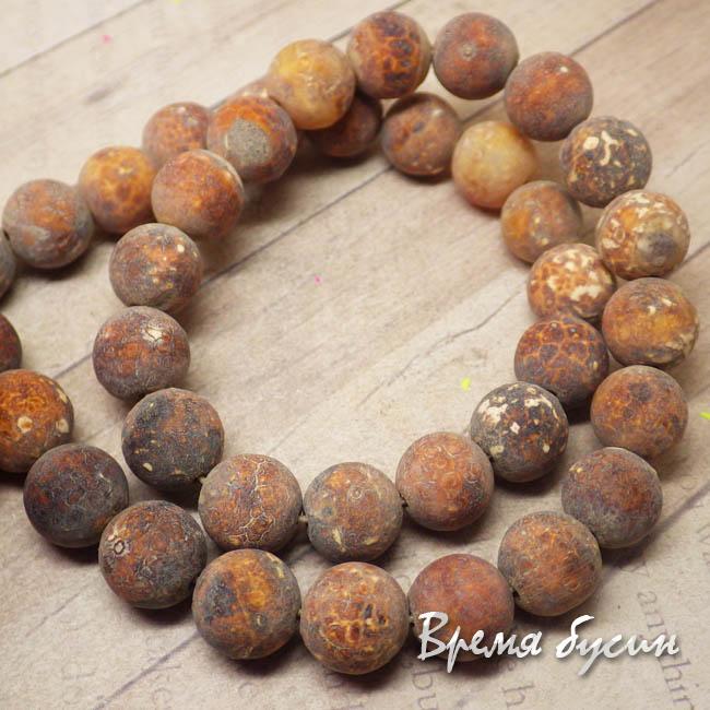 Агат шоколадный матовый, шарик гладкий 10 мм (нить, 38 шт.)