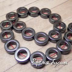 Гематит, кольцо цв. ЧЕРНЫЙ 12 мм (1 шт.)