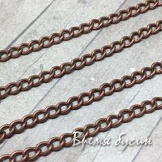 Цепочка металлическая, цвет медь, звено изогнутое 3х5 мм (10 см.)