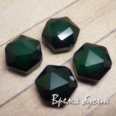 """Бусина из граненого стекла """"Шестигранник"""", 14х14 мм цв. темно-зеленый (1 шт.)"""