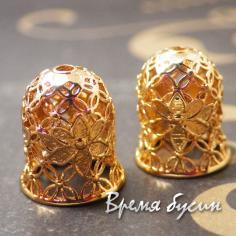 Концевики для серег-кисточек, латунь с розовой позолотой (2 шт.)