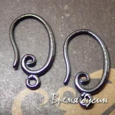 Швензы крючки, латунь с черным родиевым покрытием (1 пара)