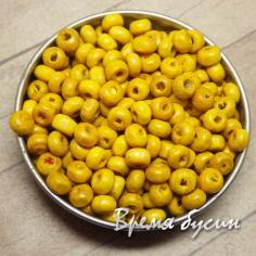 Бусины деревянные круглые 4 мм, цв. желтый (5 гр.)