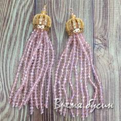 Подвески-кисточки из граненых бусин, цв. Розовый в золоте   (2 шт.)