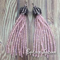 Подвески-кисточки из граненых бусин, цв. Розовый в черном  (2 шт.)