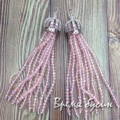 Подвески-кисточки из граненых бусин, цв. Розовый в серебре (2 шт.)