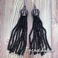 Подвески-кисточки из граненых бусин, цв. Черный в черном (2 шт.)