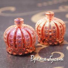 Шапочки-концевики с фианитами, 13х14 мм, латунь с розовой позолотой (2 шт.)