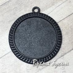 Основа для кабошона 30 мм, цв. черный (1 шт.)