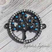 """Коннектор """"Дерево"""" с цветными фианитами, латунь с черным родиевым покрытием (1 шт.)"""