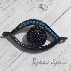 """Коннектор """"Глаз"""" с цветными фианитами, латунь с черным родиевым покрытием (1 шт.)"""