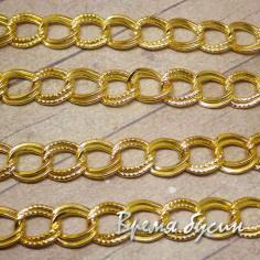 Цепочка металлическая, цвет золото, звено овальное двойное 9х10 мм (10 см.)