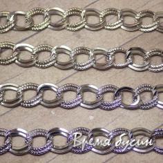 Цепочка металлическая, цвет серебро, звено овальное двойное 9х10 мм (10 см.)