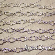 Цепочка металлическая, цвет серебро, звено изогнутое (10 см.)
