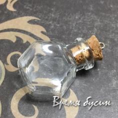 Мини-бутылочка из стекла с пробкой и штифтом (1 шт.)