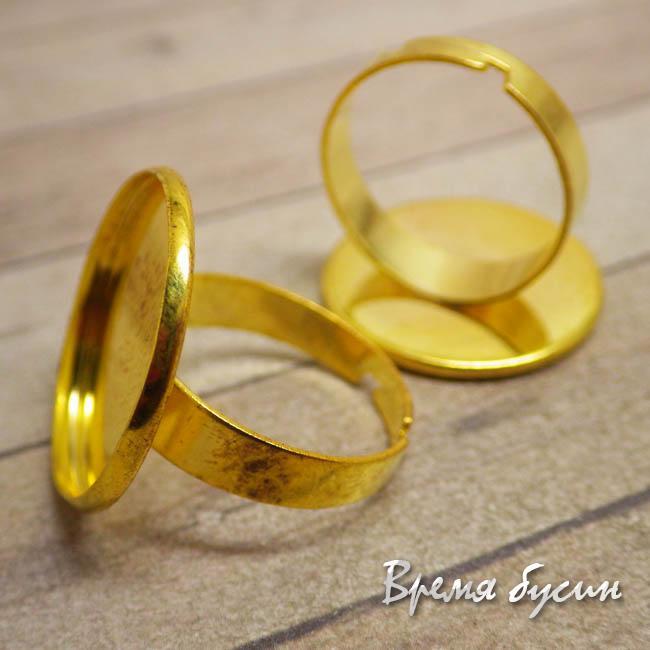 Основа для кольца с сеттингом под кабошон 20 мм., цв. золото (1 шт.)