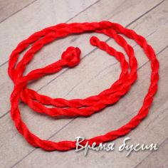 Шнурок нейлоновый витой, 50 см. цв.красный (1 шт.)