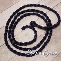 Шнурок нейлоновый витой, 60 см. цв.черный (1 шт.)