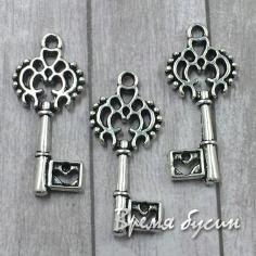 Ключ. Подвеска металлическая, цв. серебро (1 шт.)