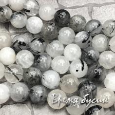 Рутиловый кварц - серый волосатик, шарик гладкий 10 мм (1 шт.)
