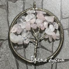 """Кулон с каменной крошкой """"Дерево жизни"""", розовый кварц (1 шт.)"""