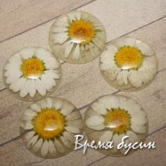 Кабошон эпоксидный с настоящими цветами, 25 мм (1 шт.)