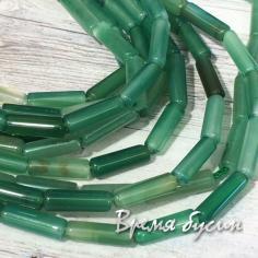 Агат тонир. зеленый, бусина трубочка гладкая 4х14 мм (нить, 30 шт.)
