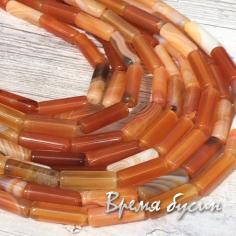 Агат тонир. рыжий, бусина трубочка гладкая 4х14 мм (нить, 30 шт.)
