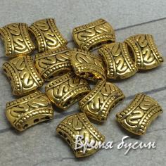 Бусины-разделители на 3 нити под золото, 8х12 мм (1 шт.)