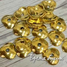 Шапочки для бусин, цв. золото, 11 мм (5 гр., ок. 9 шт.)