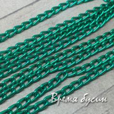 Цепочка металлическая, 4х6 мм, цв. зеленый (50 см.)