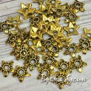 Шапочки для бусин 6 мм, цв. золото (5 гр.)