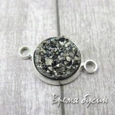Коннектор из смолы, друза в оправе под серебро 12х20 мм (1 шт.)