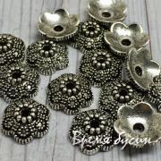 Шапочки для бусин 12 мм под серебро (5 гр.)