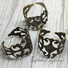 Основа для кольца из филиграни с сеттингом под кабошон 6 мм, цв. бронза (1 шт.)