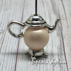 """Рамка для бусины 10 мм """"Чайник"""", цв. серебро (1 шт.)"""
